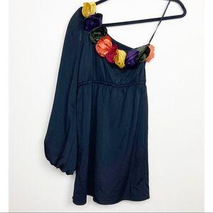 Judith March one shoulder Black floral dress